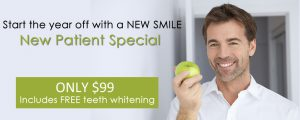 Dr. Bowyer's new patient special - $99 for dental exam, cleaning, and teeth whitening